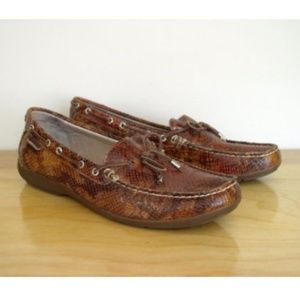 Sperry TopSider Brown Patent Snake Embossed Loafer